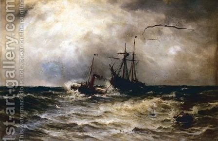 Steam Barge Towing Ship by Gustave de Breanski - Reproduction Oil Painting