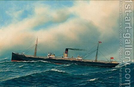 Ship Portrait by Antonio Jacobsen - Reproduction Oil Painting