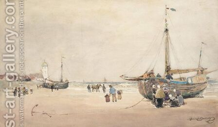 Fishing Boat On The Shore by Alexander Brownlie Docharty - Reproduction Oil Painting