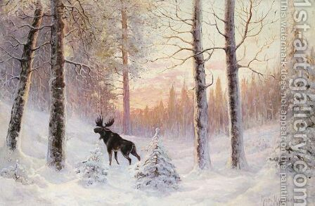 Elk In The Forest by Count Vladimir Leonidovich Muravyov - Reproduction Oil Painting