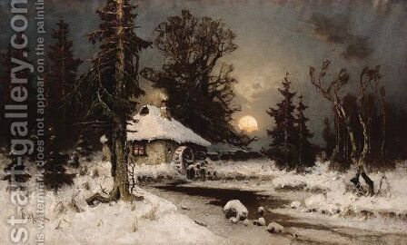 The Mill In Winter by Iulii Iul'evich (Julius) Klever - Reproduction Oil Painting