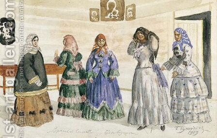 Five Young Women In An Interior With Icons by Boris Kustodiev - Reproduction Oil Painting