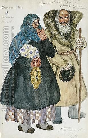 Costume Design For An Old Peasant Couple Agafon And Stepanida by Boris Kustodiev - Reproduction Oil Painting