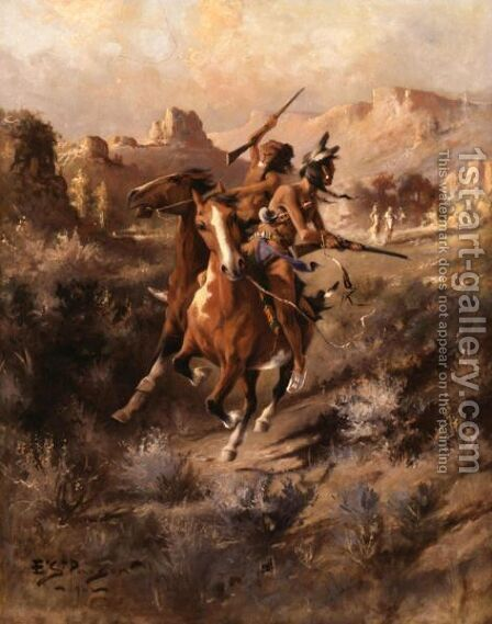 The Last Shot by Edgar Samuel Paxson - Reproduction Oil Painting