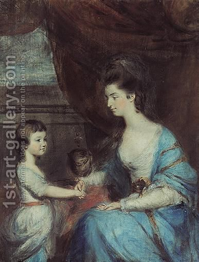 Portrait Of Lady Emilia Mary Lennox (1731-1814) And Her Son Lord Edward Fitzgerald (1763-1798) by Daniel Gardener - Reproduction Oil Painting