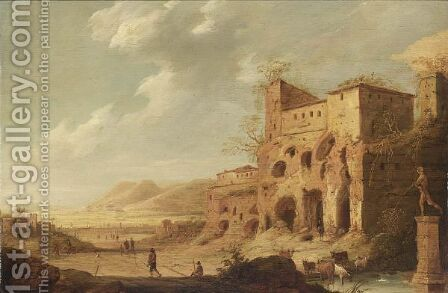 A Hilly Landscape With Figures And Cattle Among Roman Ruins, A Town Beyond by Dirck Verhaert - Reproduction Oil Painting