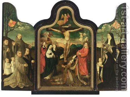 A Triptych Central Panel The Crucifixion, Left Wing Saint Francis With Male Donors, Right Wing Saint Barbara With Female Donors by Jacob Cornelisz Van Oostsanen - Reproduction Oil Painting