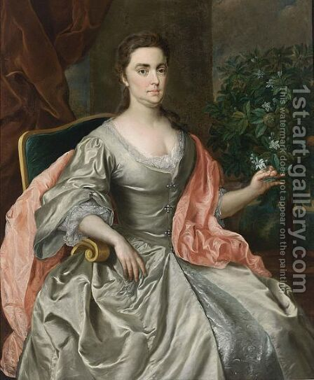 A Portrait Of A Lady Seated Three-Quarter Length, Wearing A Grey Satin Dress With Lace Collar And Cuffs And A Pink Satin Shawl, With An Orange Tree On A Table by Anglo-Dutch School - Reproduction Oil Painting