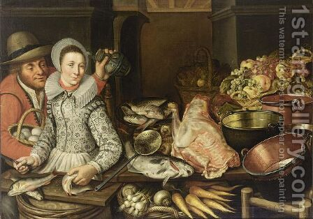 A Kitchen Still Life With Grapes And Apples In A Basket, With Artichokes In A Basket, Fish On A Plate, Copper Pots And Pans, A Piece Of Meat, Fish, Carrots, Turnips And Onions In A Basket, With A Woman Scaling Fish And A Man Holding A Jug And A Basket by (after) Floris Gerritsz. Van Schooten - Reproduction Oil Painting