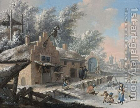 A Winter Landscape With Figures Playing On The Ice And People Skating by (after)  Bernardus Van Scheyndel - Reproduction Oil Painting
