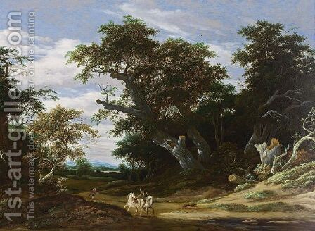 A Wooded Landscape With A Horseman With Another Horse On A Path Together With A Boy by Jacob Salomonsz. Ruysdael - Reproduction Oil Painting