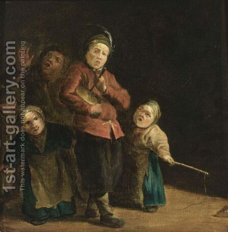 Children Singing And Playing The Rommelpot by (after) Andries Both - Reproduction Oil Painting