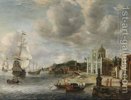 An Italianate Harbour Scene With Dutch Men-O'-War Moored, Yaughts And Rowing Boats Near The Quay, Figures Walking On A Square Near A Church by (after) Jan Abrahamsz. Beerstraten - Reproduction Oil Painting