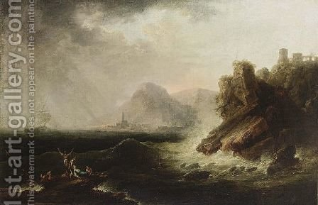 Shipwrecking On A Rocky Coast by (after)  Claude-Joseph Vernet - Reproduction Oil Painting