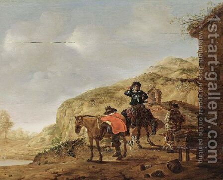 Two Horsemen Resting Near A Tavern In A Hilly Landscape by (after) Cornelis Verbeeck - Reproduction Oil Painting