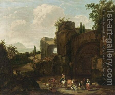 A Classical Landscape With Shepherds And Their Herd Near Ruins by (after) Jan Van Der Bent - Reproduction Oil Painting