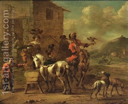 The Rest After The Hunt by (after) Simon Johannes Van Douw - Reproduction Oil Painting