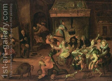 Peasant Family In An Interior Threatened By Soldiers by (after) David Vinckboons - Reproduction Oil Painting
