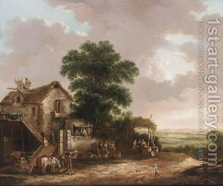 Travellers Resting, Drinking And Eating Outside An Inn With Their Horses by Dutch School - Reproduction Oil Painting