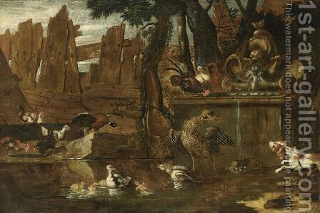 A Hunting Still Life With A Hare, A Cockerel, Partridges, Pigeons, In A Park Setting by (after) Jan Weenix - Reproduction Oil Painting