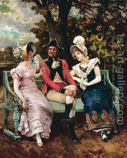 Flirting by Henry Gillard Glindoni - Reproduction Oil Painting