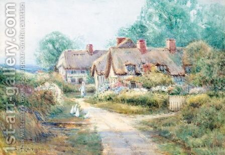 Cottage By A Country Path by Edith A. Langdon - Reproduction Oil Painting