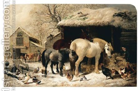 Winter Feed by Henry Woollett - Reproduction Oil Painting