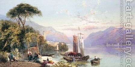 Figures By Lake Bellagio by Charles Rowbotham - Reproduction Oil Painting