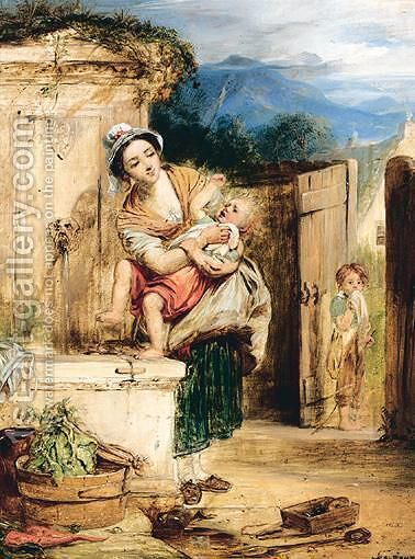 Washing The Baby by (after) John Adam P. Houston - Reproduction Oil Painting