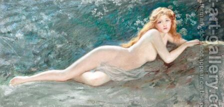 Reclining Nude by Arthur Dampier May - Reproduction Oil Painting