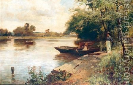 The Ferry Crossing by (after) Charles James Lewis - Reproduction Oil Painting