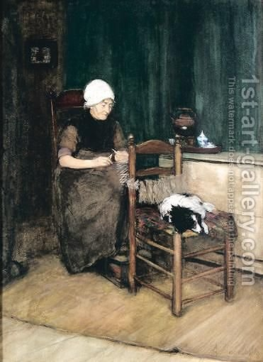 Interior Scene With Woman Knitting by Arina Hugenholtz - Reproduction Oil Painting