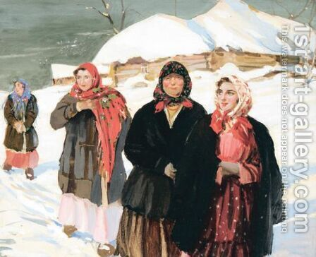 Walking In The Snow by Constantin Westchiloff - Reproduction Oil Painting