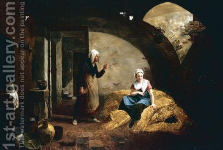 Women Seated In Cellar by Constantin Fidèle Coene - Reproduction Oil Painting