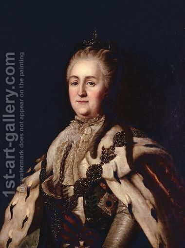Portrait Of Catherine The Great (1762-1796) by (after) Virgilius Erichsen - Reproduction Oil Painting