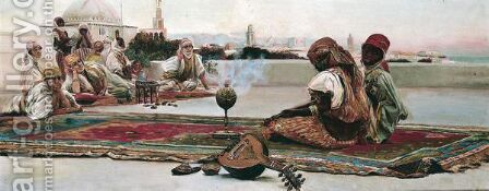 Musicians Playing On A Rooftop In A Town In North Africa by Continental School - Reproduction Oil Painting