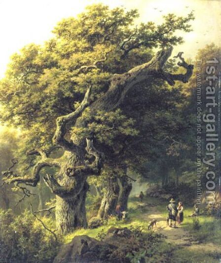 Un Chemin De Devestiture A Travers Une Foret by Barend Cornelis Koekkoek - Reproduction Oil Painting