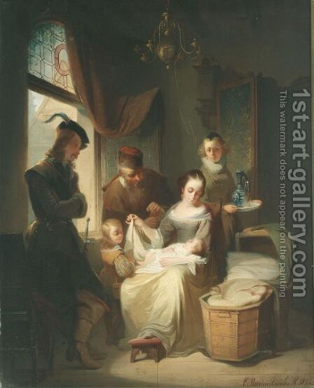 Admiring The Newborn by Casimir Van Den Daele - Reproduction Oil Painting