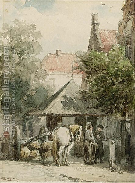 A Street Scene, Abcoude by Cornelis Springer - Reproduction Oil Painting
