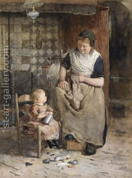 A Peaceful Moment by Hendrik Valkenburg - Reproduction Oil Painting