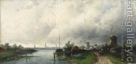 A Summer Landscape With Windmills Along A Waterway by Charles Henri Leickert - Reproduction Oil Painting