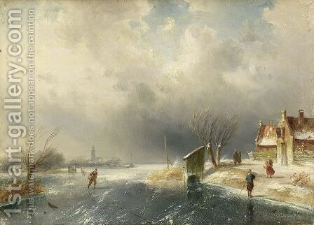 Figures In A Winter Landscape by Charles Henri Leickert - Reproduction Oil Painting