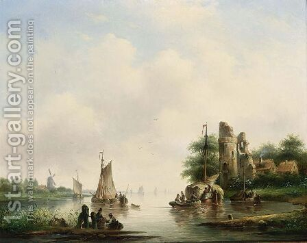 A Summer Landscape With Boats On A River by Cornelis Petrus T' Hoen - Reproduction Oil Painting