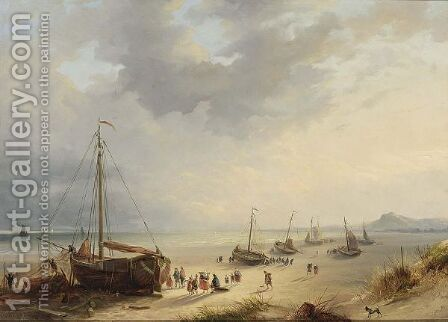 Fisherfolk Unloading The Catch On The Beach by Cornelis Lieste - Reproduction Oil Painting