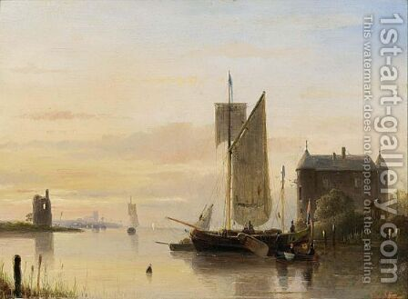A River Landscape At Sunset by Cornelis Petrus T' Hoen - Reproduction Oil Painting