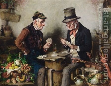 A Game Of Cards by Hermann Kern - Reproduction Oil Painting