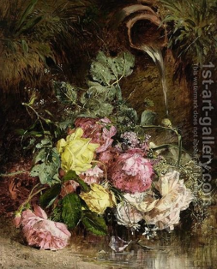 A Bunch Of Flowers By A Well by Anna Peters - Reproduction Oil Painting