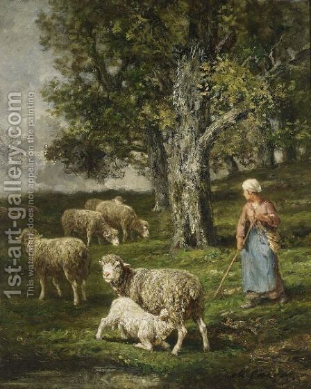 A Shepherdess With Her Flock 3 by Charles Émile Jacque - Reproduction Oil Painting