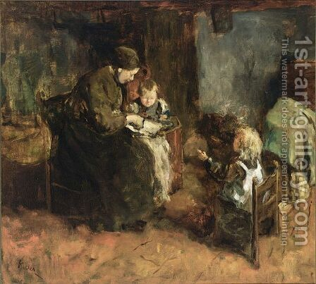 A Mother And Her Children In An Interior by Jacob Simon Hendrik Kever - Reproduction Oil Painting