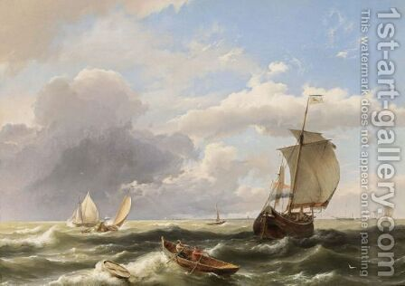 Sailing Vessels Off The Dutch Coast by Hermanus Koekkoek - Reproduction Oil Painting
